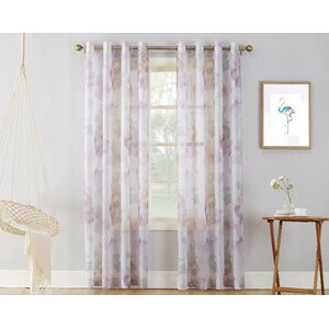 Andorra Watercolor Nature / Floral Sheer Grommet Single Curtain Panel