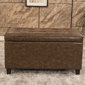 Classic Tufted Waxed Texture Storage Ottoman..
