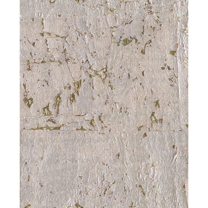"17 Stories Cormac 24 L x 36"" W Cork Wallpaper Roll  Color: Metallic Silvery Grey"