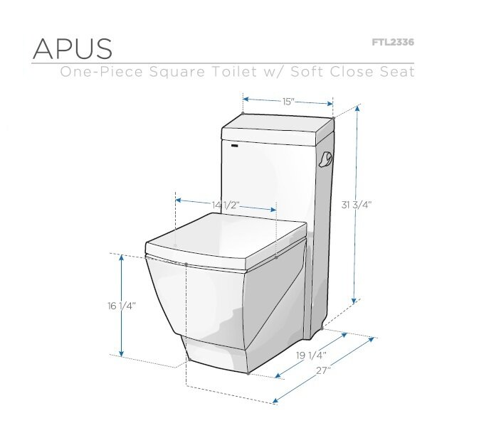 Fresca Apus Square 1 6 Gpf Elongated One Piece Toilet Seat Included
