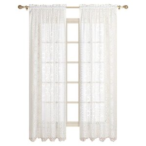 rochelle nature floral sheer rod pocket single curtain panel