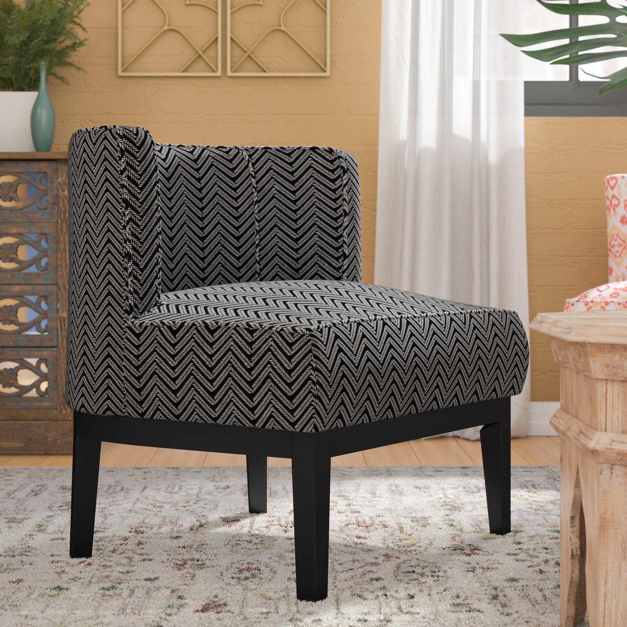 Bungalow Rose Blondene Herringbone Low Back Barrel Chair | Wayfair