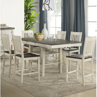 Ridgley 5 Piece Counter Height Extendable Solid Wood Pub Table Set