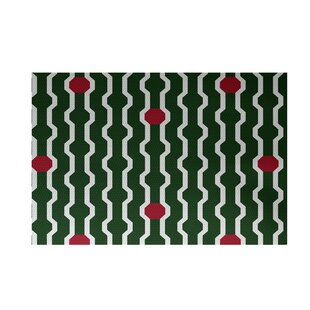 Shop For Uresti Decorative Holiday Geometric Print Dark Green Woven Indoor/Outdoor Area Rug By Wrought Studio