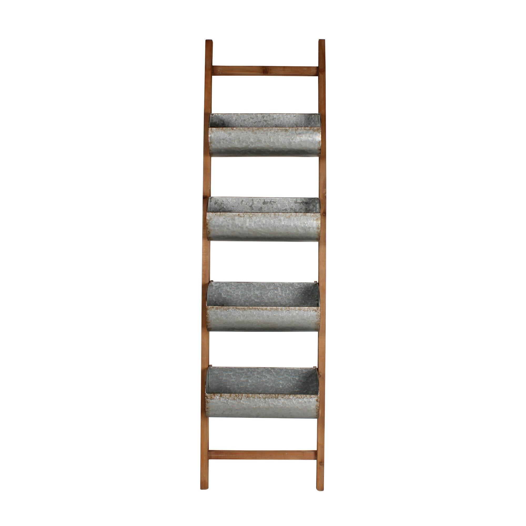 Kate And Laurel Pothos Wood And Metal Leaner Storage Bin 5.5 Ft Decorative  Ladder U0026 Reviews | Wayfair