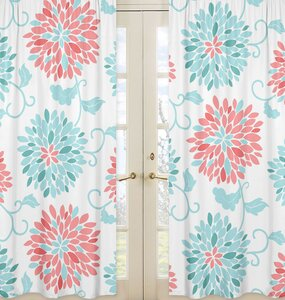 Sweet Jojo Designs Emma Floral Flower Semi Sheer Rod