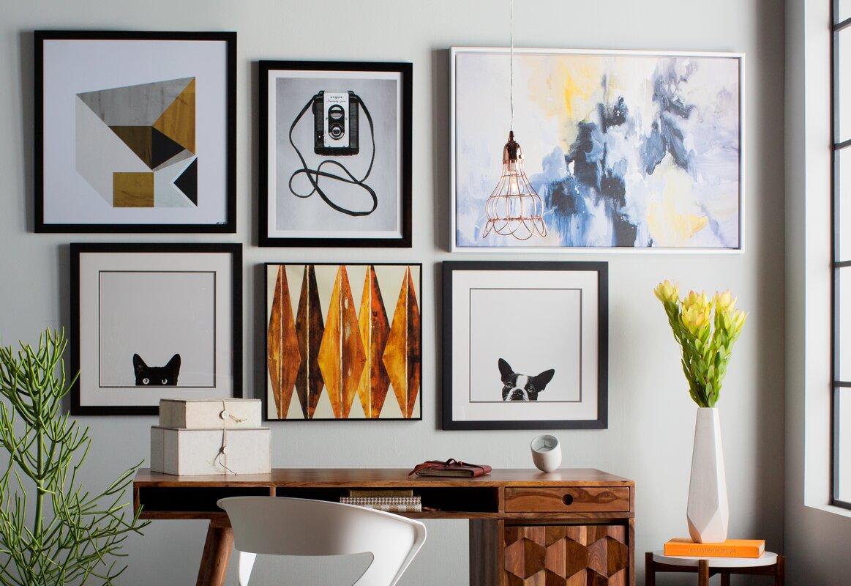 Elegant Mustard Geo Framed Wall Art