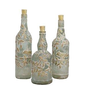 decorated glass bottles. 3 Piece Azur Glass Decorative Bottles You ll Love  Wayfair