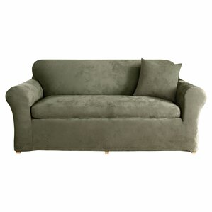 Stretch Suede Box Cushion Sofa Slipcover by ..