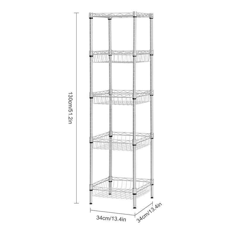 512 h x 134 w 5 tier wire shelving unit with baskets - Wire Shelving Units