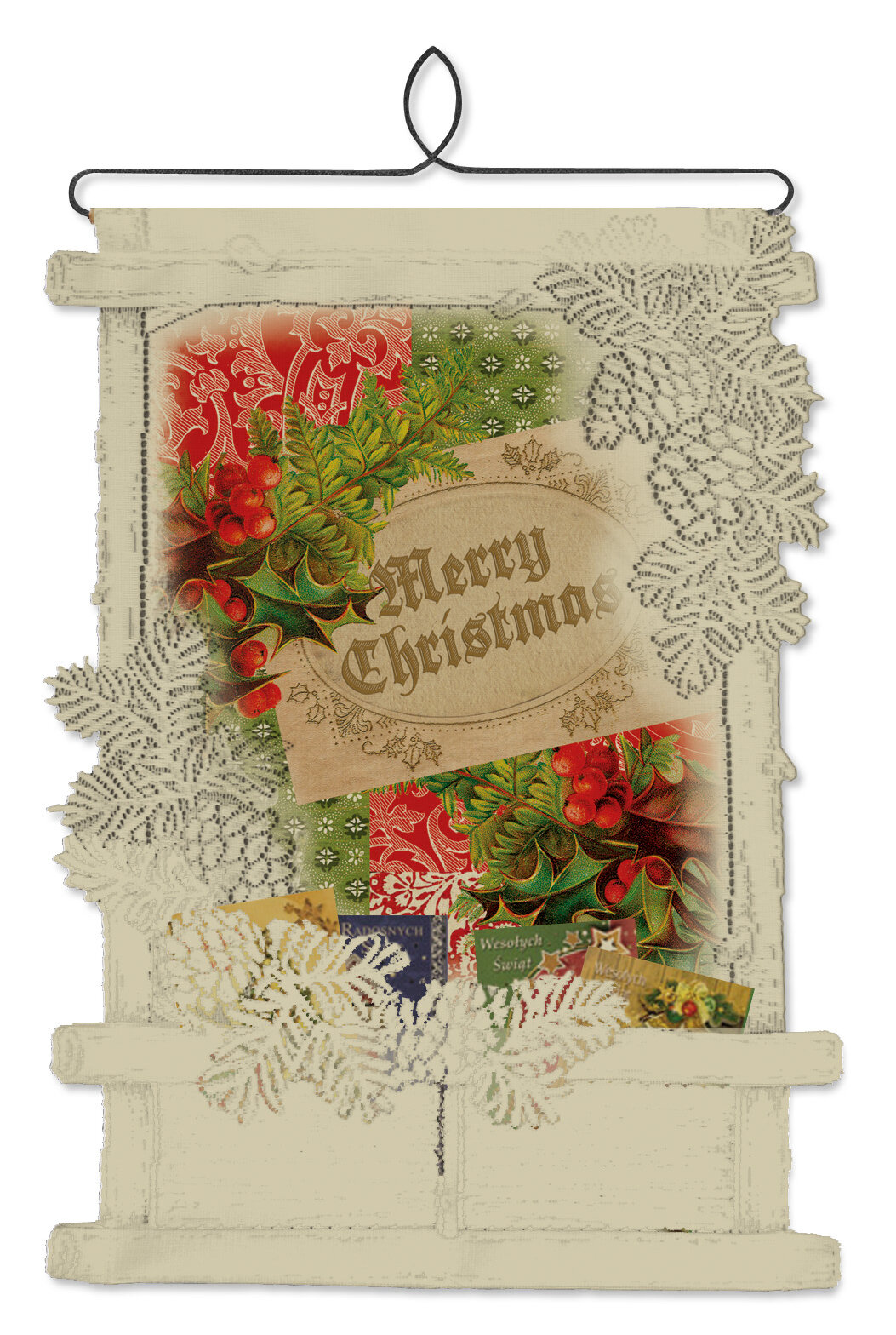 Heritage Lace Vintage Holly Christmas Card Holder Wall Decor | Wayfair