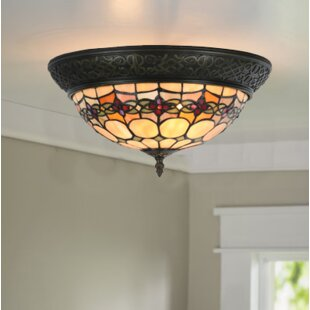 Paule Tiffany Style Stained Gl Geometric Rosette 2 Light Flush Mount