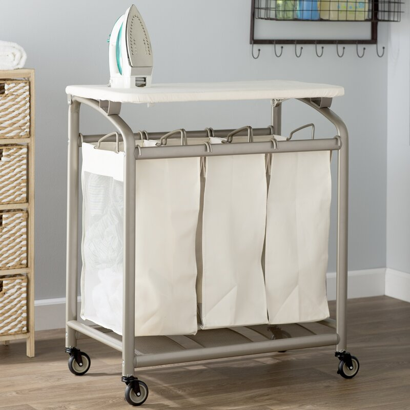 The Twillery Co Laundry Sorter Hamper With Folding Table