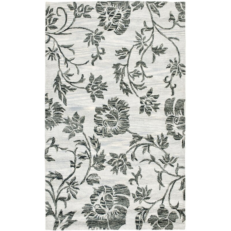 Alcott Hill Marcello Hand-Tufted Wool Grey/Black Area Rug, Size: Rectangle 6 x 9