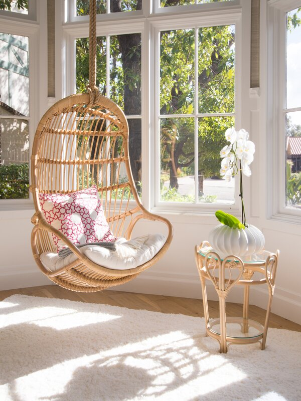bedroom swing chair bungalow blucher hanging rattan swing chair amp reviews 10697