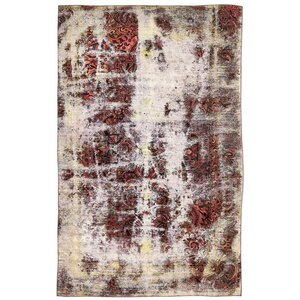 Sela Vintage Persian Hand Woven Wool Distressed Rust Red Area Rug with Fringe