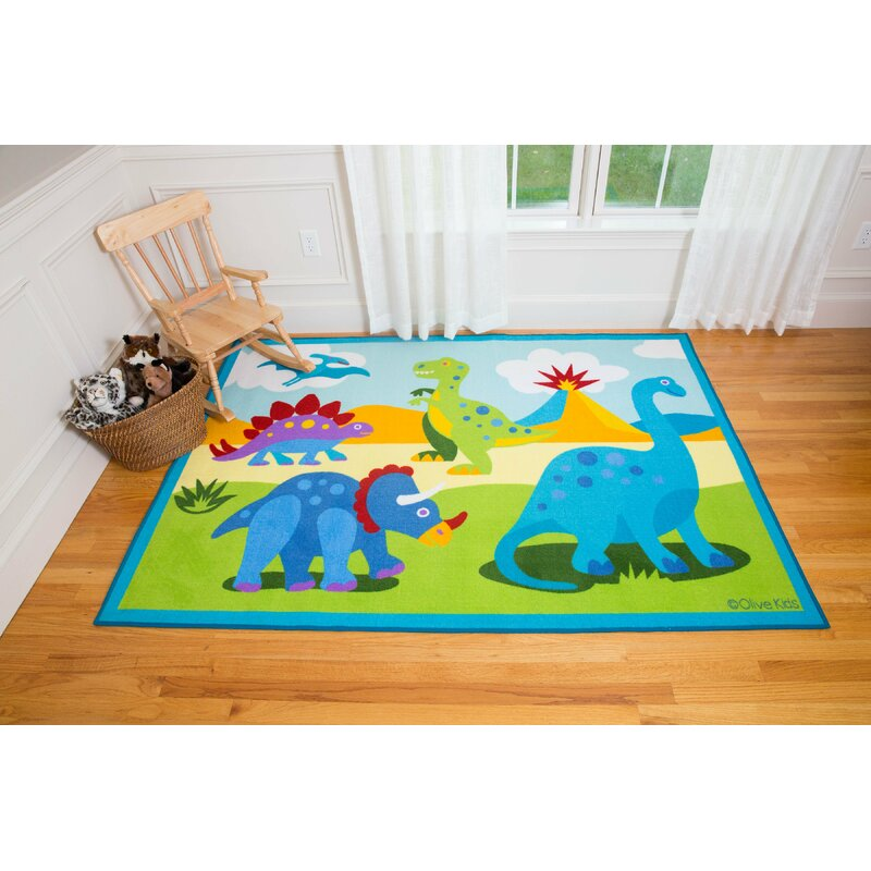 Wildkin Olive Kids Dinosaur Land Blue/Green Area Rug