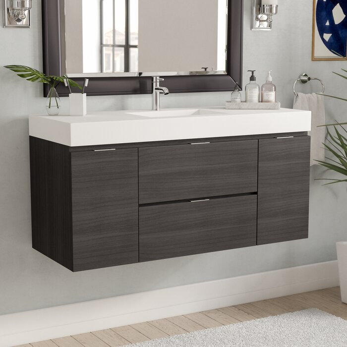 Wade Logan Tenafly 48 Single Wall Mount Modern Bathroom Vanity Set