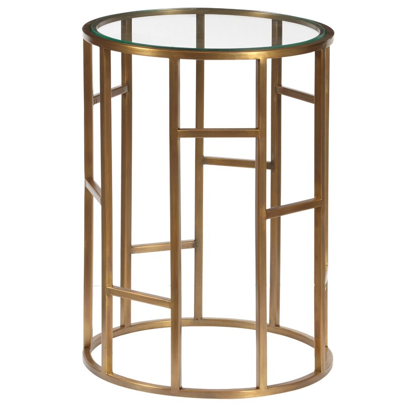 Josephson Geometric End Table With Glass Top