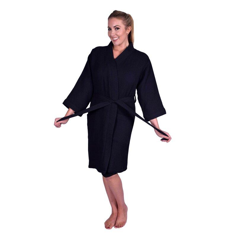 Latitude Run Lowrey Natural Soft Kimono 100% Cotton Waffle Bathrobe ... d1d11e2f6