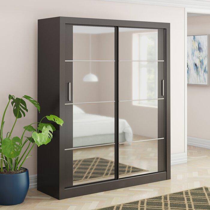 Alpha High Gloss 2 Door Sliding Wardrobe Mirror Black Shelf Hanging Rail Bedroom Furniture