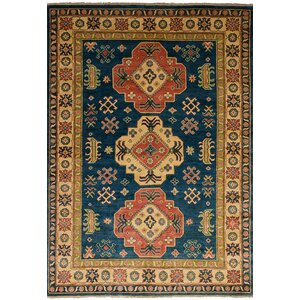 One-of-a-Kind Bernard Hand-Knotted Wool Navy Blue/Brown Indoor Area Rug