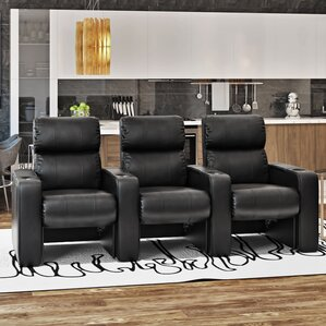 Luxury Manual Rocker Recline Home Theater Sofa (Row of 3) by Freeport Park