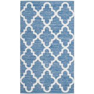 Elianau00a0Hand-Woven Blue/Ivory Area Rug