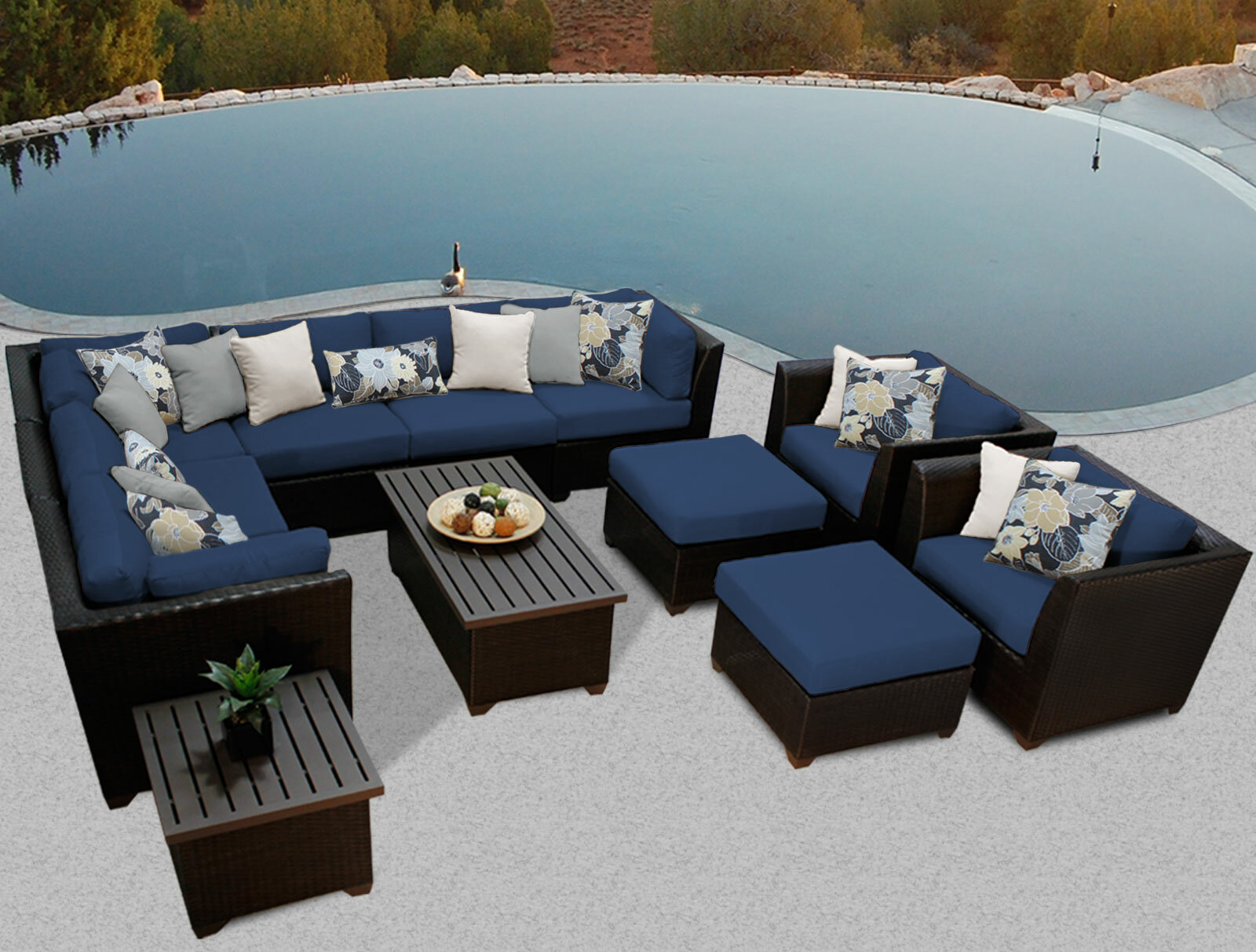 TK Classics Barbados 12 Piece Rattan Sectional Set With Cushions U0026 Reviews  | Wayfair