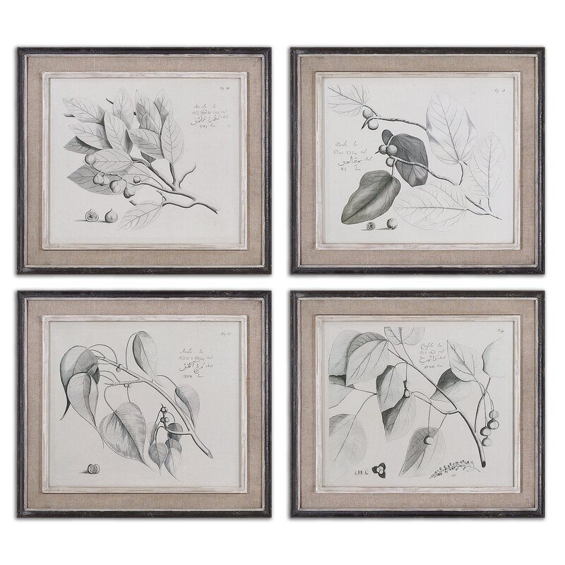 Sepia Leaf Study by Grace Feyock 4 Piece Framed Painting Print Set