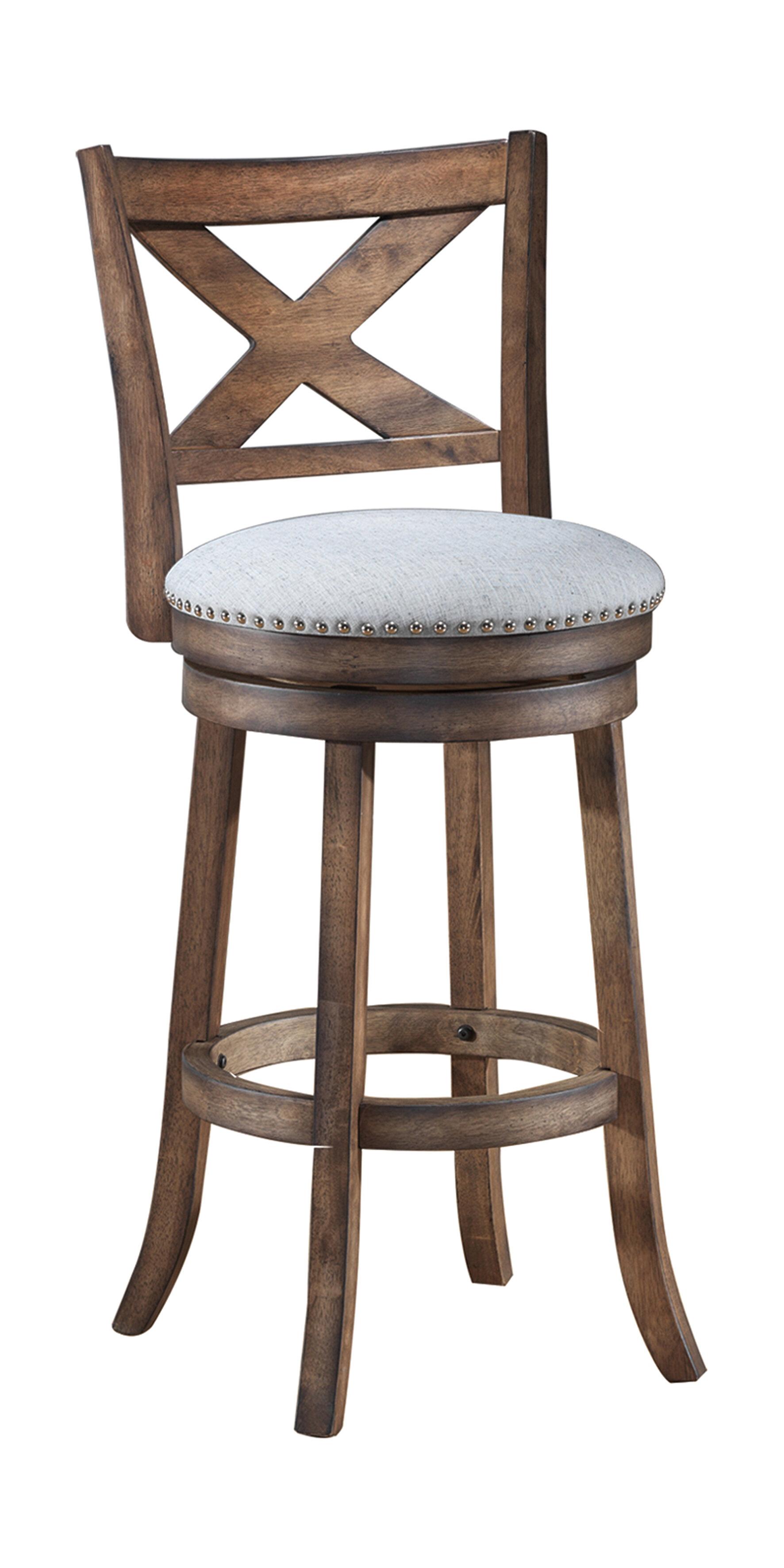 gracie oaks mackin wooden swivel bar stool reviews wayfair