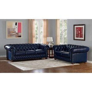 Forsyth Leather 3 Piece Living Room Set by T..