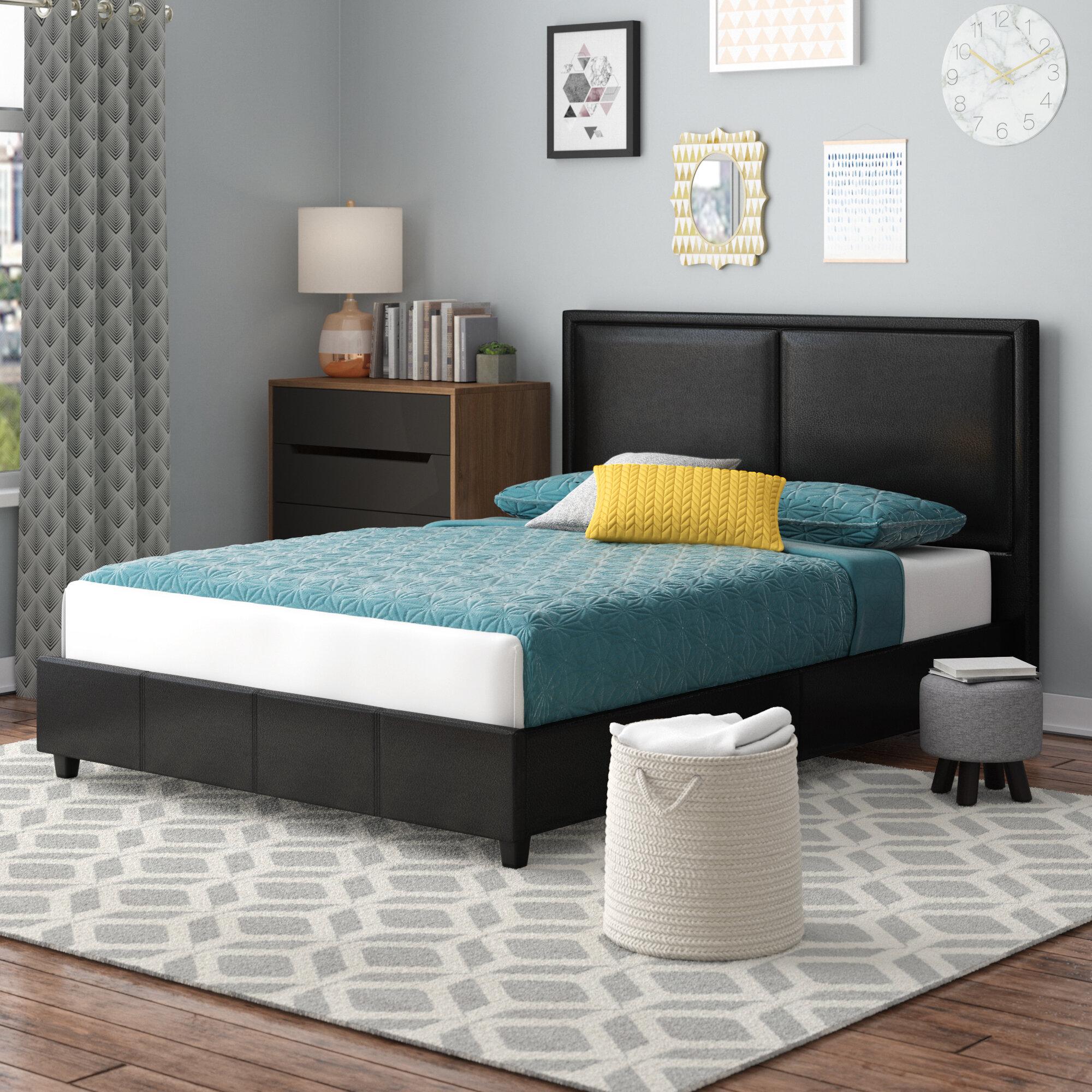 Wade Logan Alvin Upholstered Platform Bed Reviews Wayfair - Logan-leather-bed-with-adjustable-headboard
