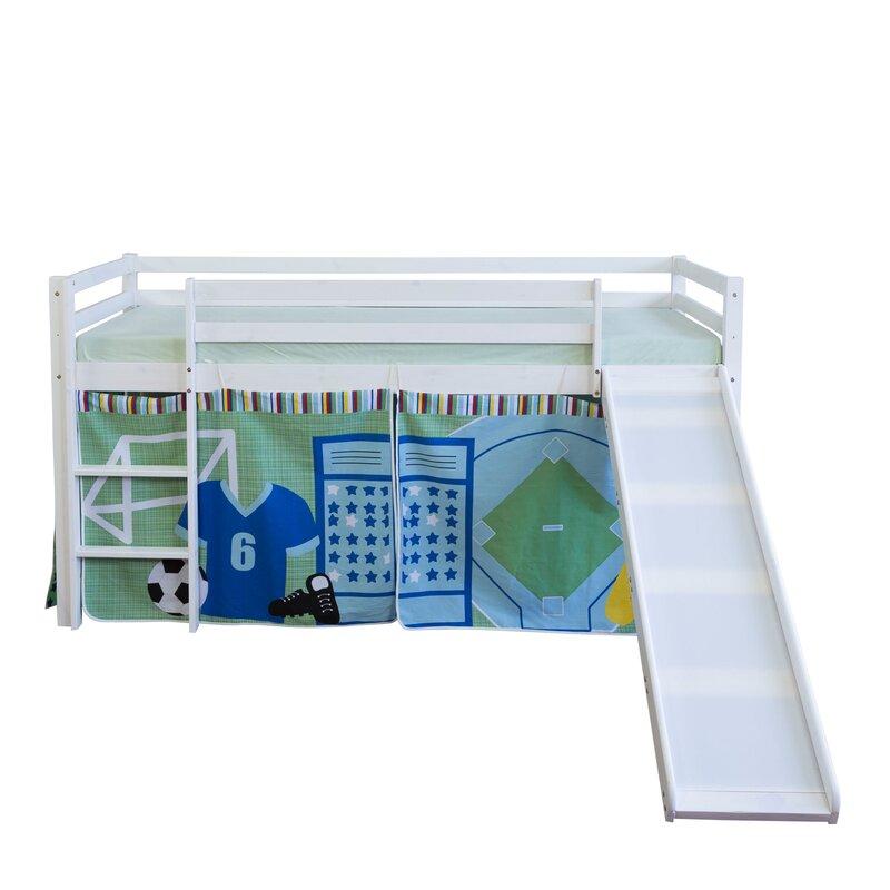 homestyle4u halbhochbett fu ball mit rutsche und vorhang. Black Bedroom Furniture Sets. Home Design Ideas