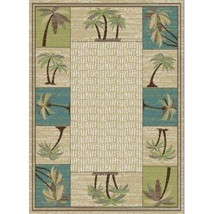 Hayward Coastal Palm Tree Beige Blue Area Rug
