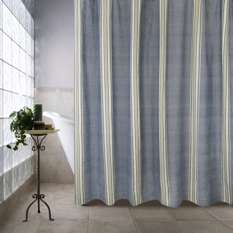 Metro Farmhouse Cotton Chambray Twill Stripe Shower Curtain