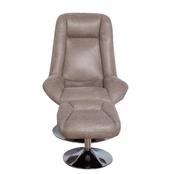 Ebern Designs Haverty Modern High Back Manual Swivel Chair With Ottoman U0026  Reviews | Wayfair