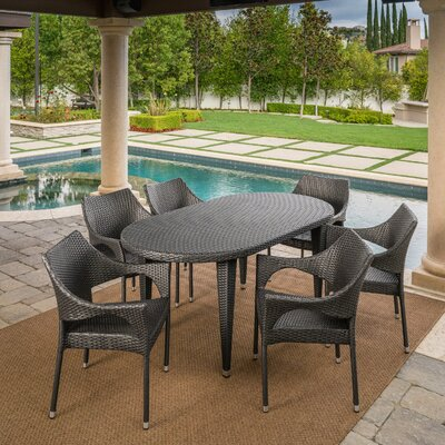 Brayden Studio Bracondale Outdoor Dining Set Color: Gray