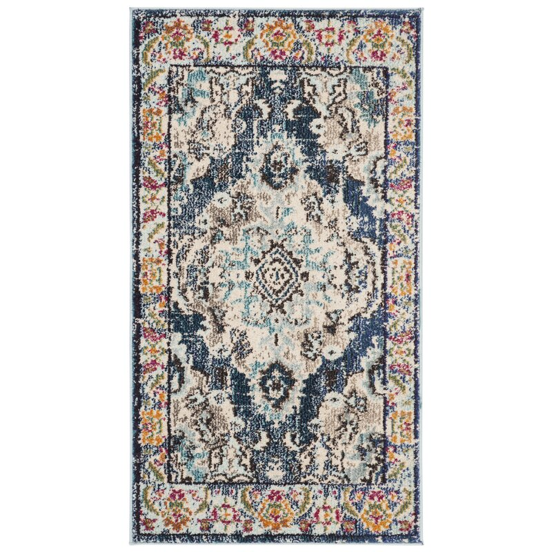 Bungalow Rose Annabel Power Loom Navy Blue Area Rug