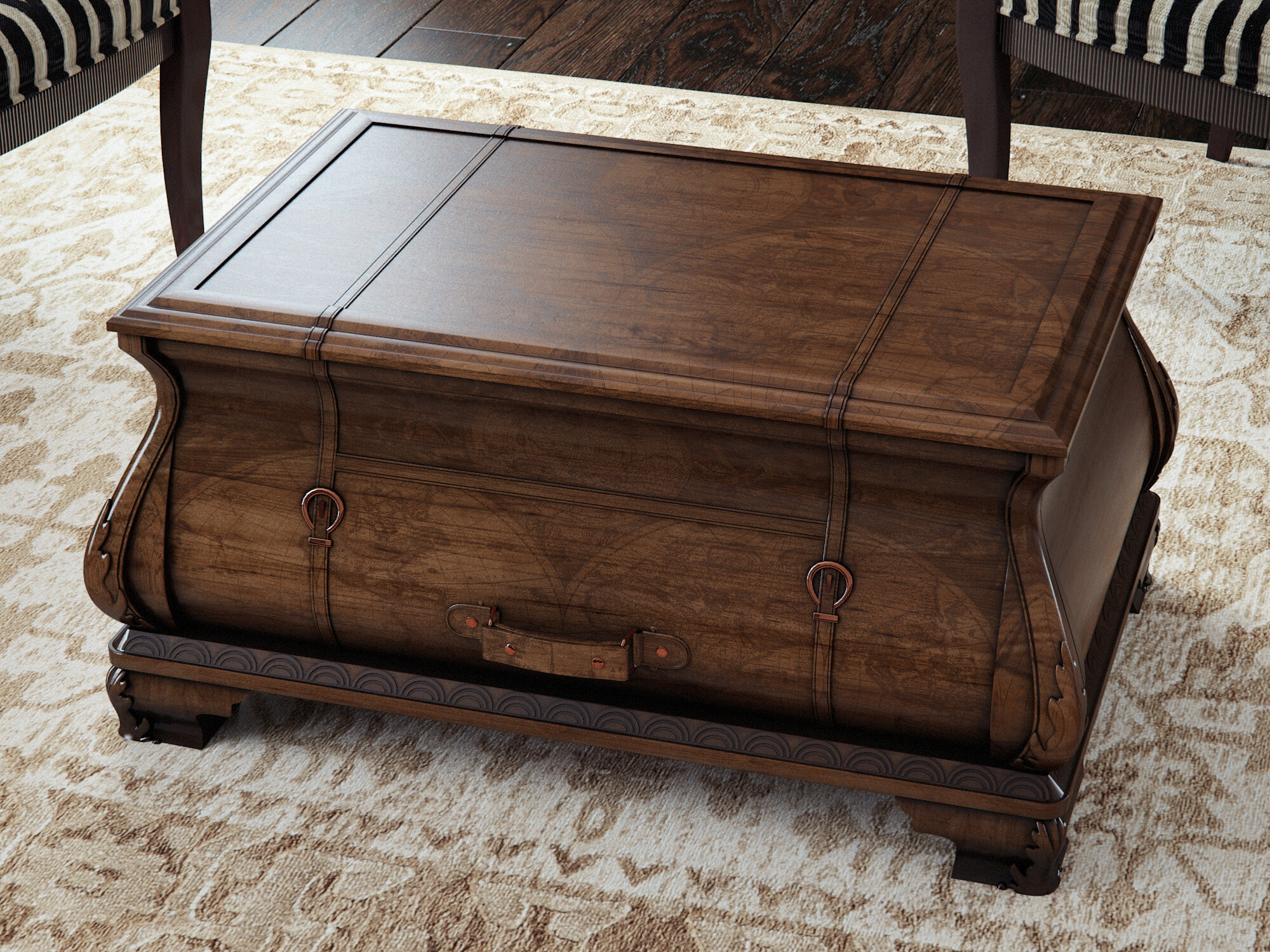 World Menagerie Kaya Bombe Coffee Table Trunk & Reviews
