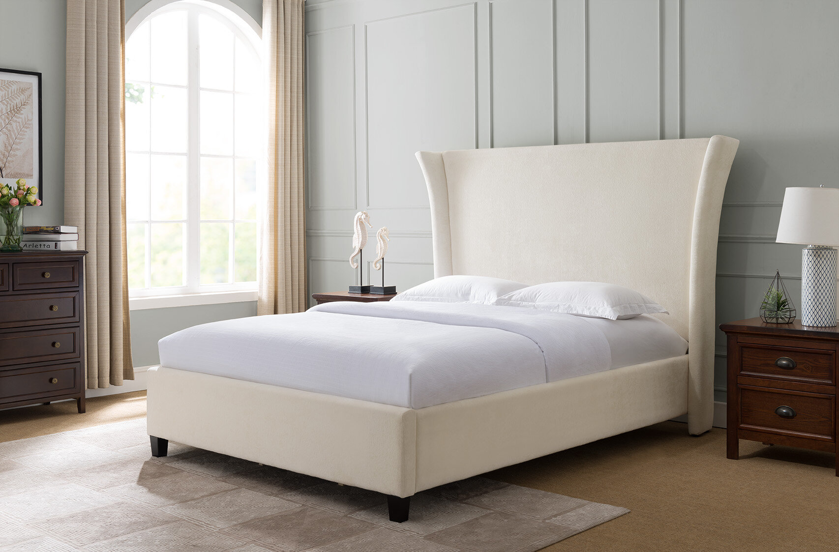 Everly Quinn Dominique Traditional Fabric Upholstered Panel Bed Wayfair