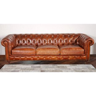 Chester Bay Tufted Genuine Leather Chesterfield Sofa