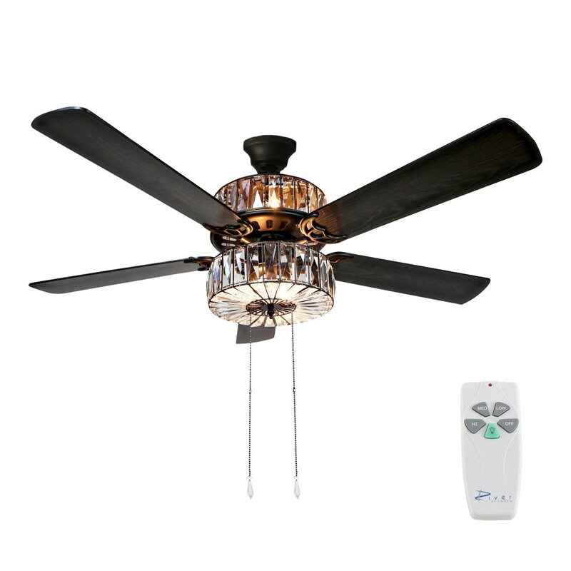 Orren Ellis 52 Njie Caged Crystal 5 Blade Ceiling Fan With Remote Light Kit Included Reviews Wayfair
