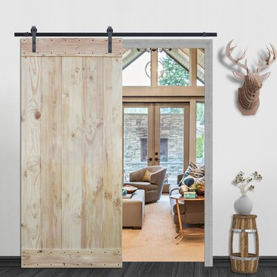 Plank Natural Solid Wood Panelled Pine Slab Interior Barn Door