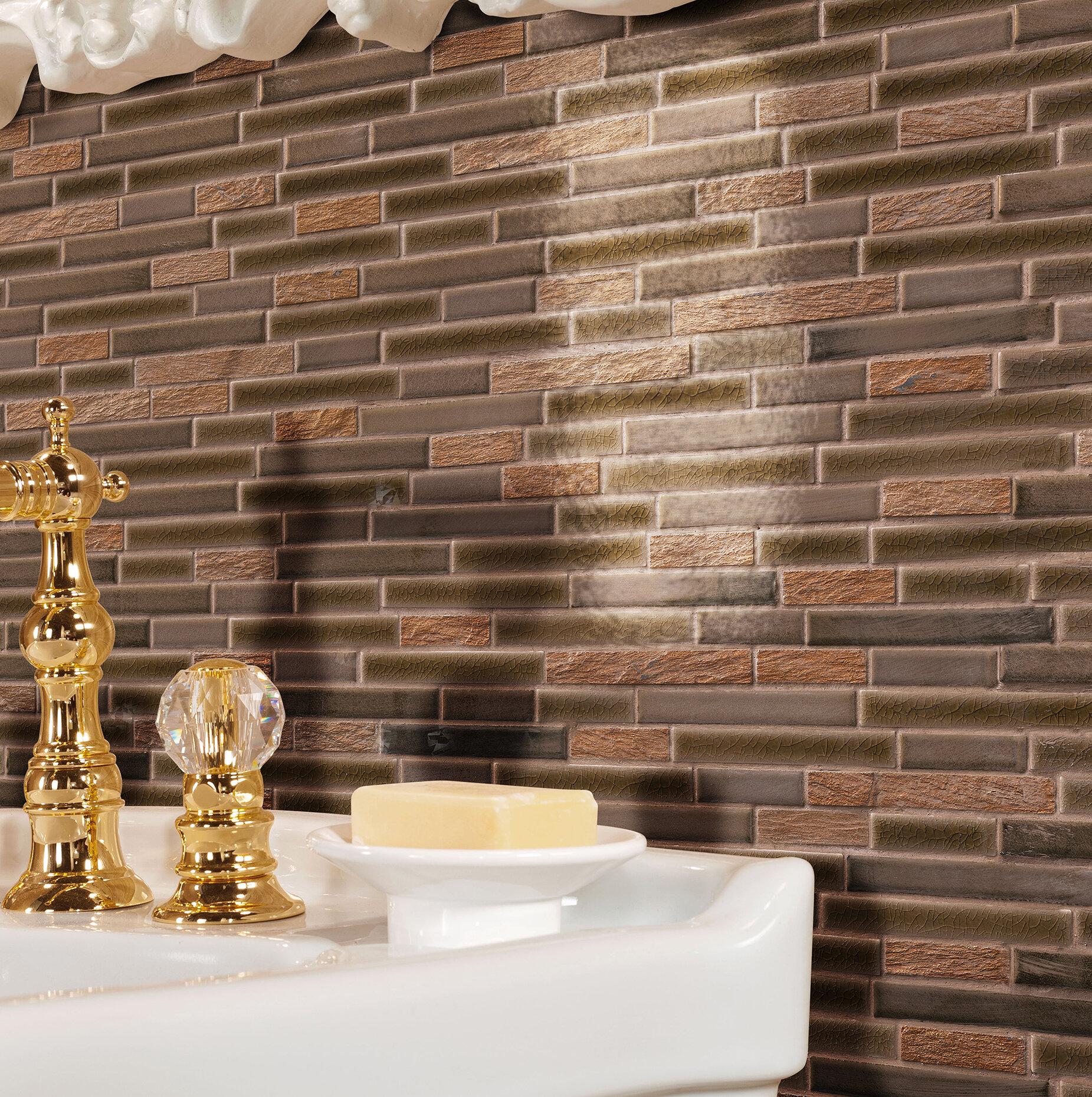 Msi Triton Interlocking Pattern Porcelain Stone Mosaic Tile In Brown Wayfair