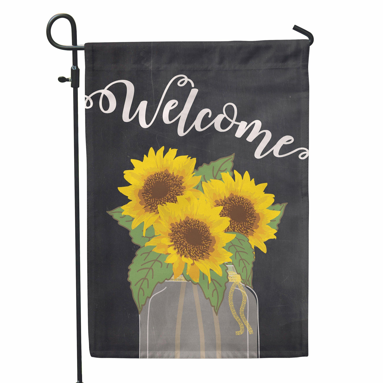 SecondEast Sunflower Welcome 2 Sided Polyester 1u00276x1 Garden Flag   Wayfair