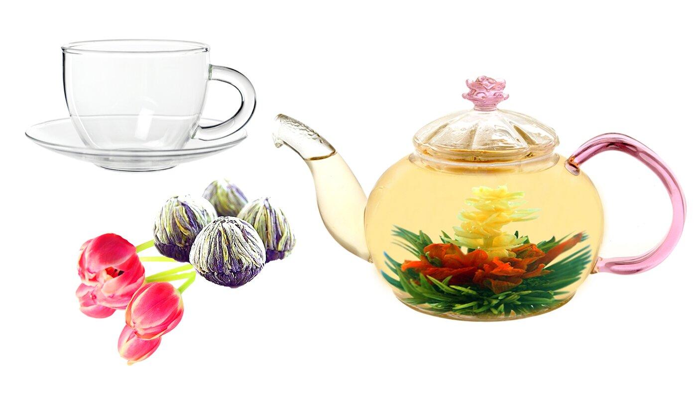 Tea Beyond Juliet 0.63-qt. Jasmine Fab Flowering Teapot Set ...