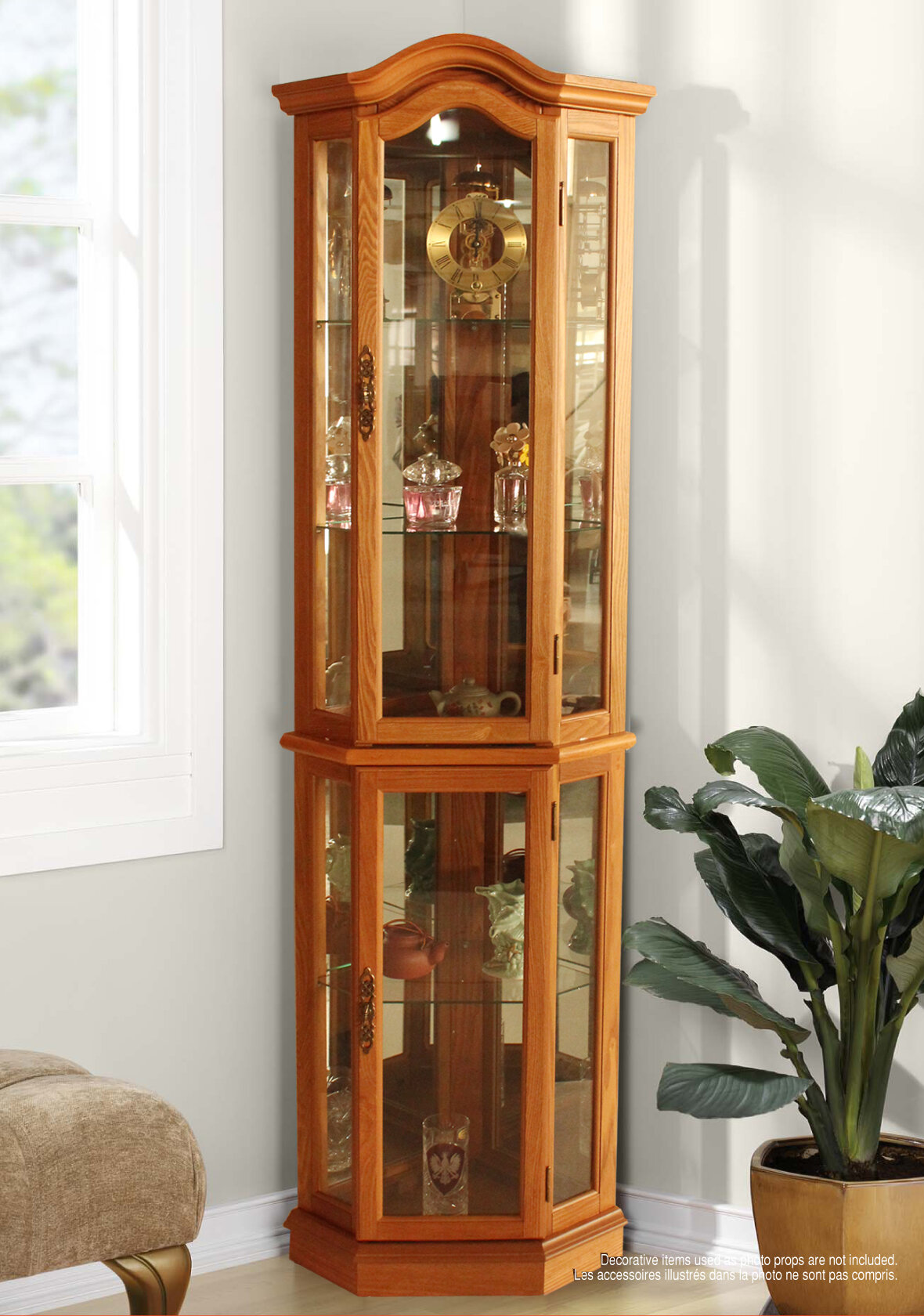 Three Posts London Lighted Corner Curio Cabinet Reviews Wayfair