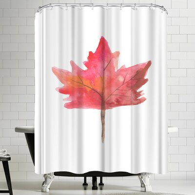 Jetty Printables Red Maple Leaf Watercolor Shower Curtain