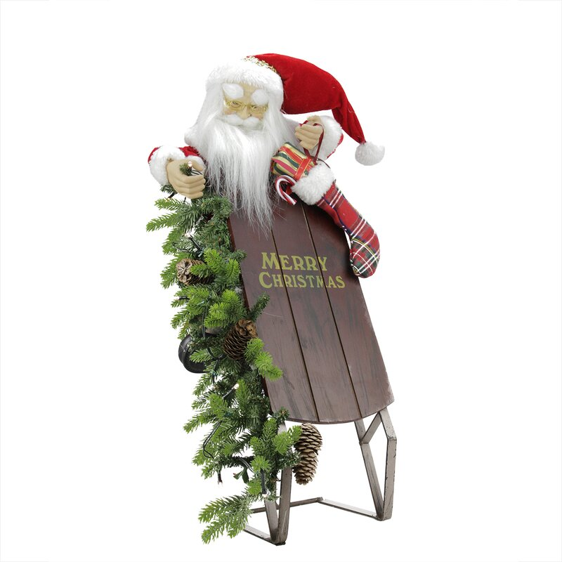 battery operated lighted musical santa claus with sleigh christmas decoration
